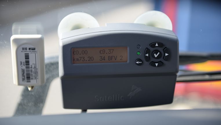Het toestel waarmee het aantal gereden kilometers gemeten wordt. Beeld Gregory Van Gansen