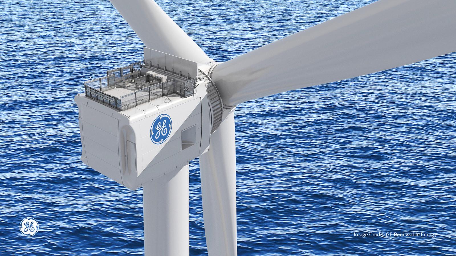 Prototype van een windturbine van GE Renewable Energy voor de Maasvlakte in Rotterdam.