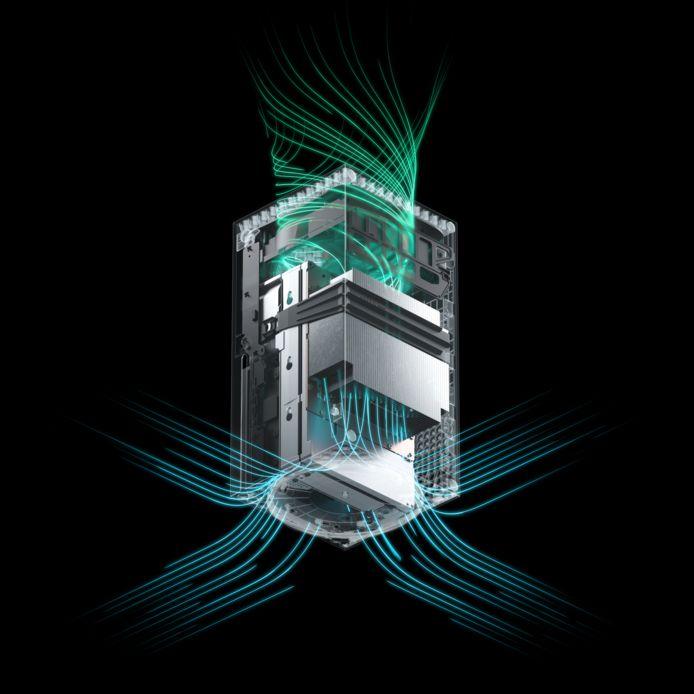 Het muisstille ventilatiesysteem van de Xbox Series X.