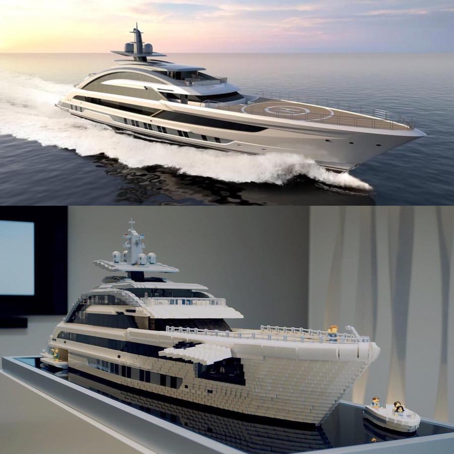 De echte boot en het legomodel van Corneel en Björn.