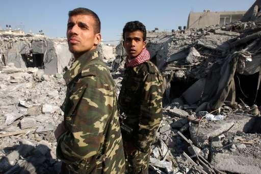Leden van de veiligheidsdienst van Hamas in Gaza-stad.