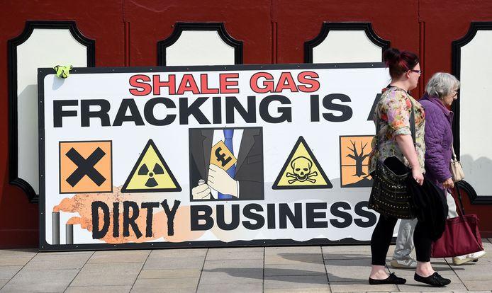 Een anti-fracking plakkaat in Preston, in het noordwesten van Engeland.