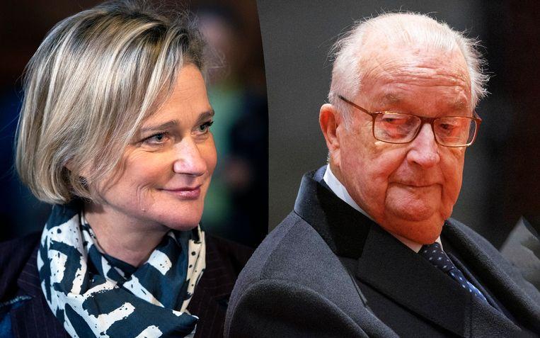 Delphine Boël en koning Albert II, van wie nu vaststaat dat hij haar biologische vader is.  Beeld Photo News