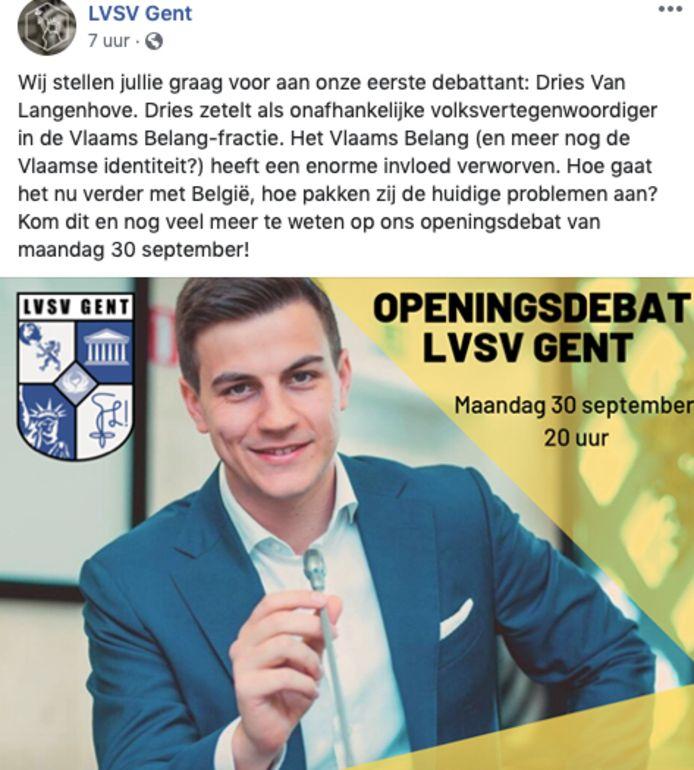 LVSV steekt niet onder stoelen of banken dat Dries Van Langenhove naar haar openingsdebat komt.