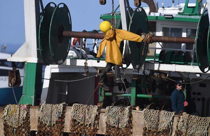 Een visserspop aan een strop.