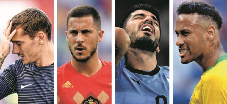 Het is in de kwartfinales uitkijken naar flitsen van Griezmann (Frankrijk), Hazard (België), Suárez (Uruguay) en Neymar (Brazilië). Beeld Photo News/AFP