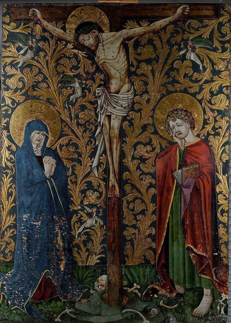 De kruisiging van Jezus, door de Meester van de Bewening van Christus te Lindau. Beeld Museum Catharijneconvent