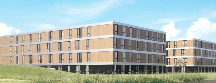 Het wooncomplex voor arbeidsmigranten dat aan de Corridor in Veghel moet verrijzen. (artist impression)