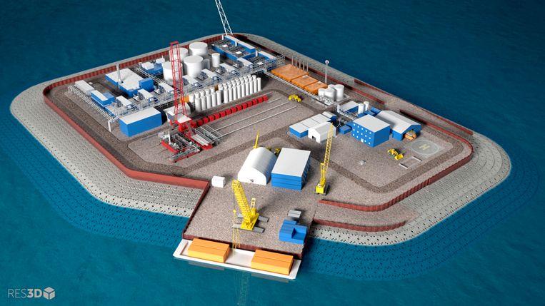 Een model van het Liberty Project. Hilcorp wil een kunstmatig eiland aanleggen in de Beaufortzee ten noorden van Alaska.