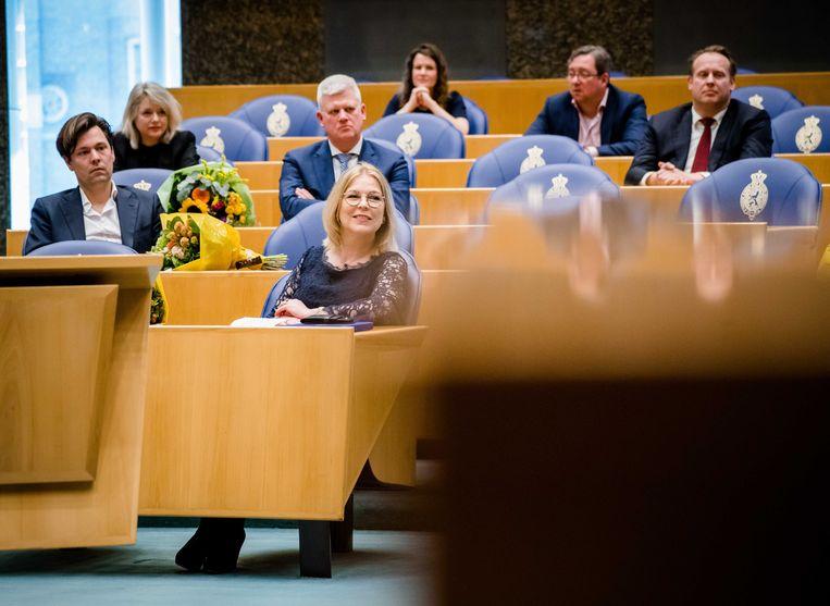 Madeleine van Toorenburg (CDA) tijdens het afscheid van afzwaaiende Kamerleden. Beeld ANP
