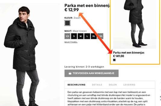"""Een """"parka met een binnenjas"""" voor mannen. Oorspronkelijke prijs: 149 euro."""