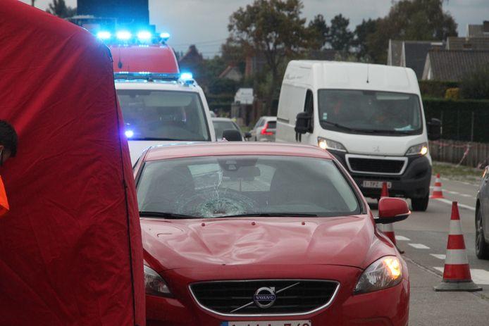 De vrouw belandde op de motorkap van de wagen.