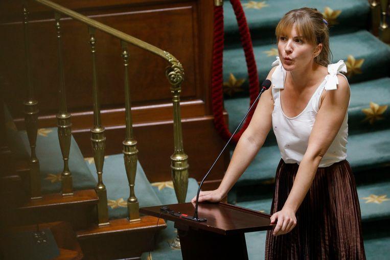 Jessika Soors (Groen) houdt een toespraak in de Kamer. Intussen is ze politiek directeur geworden bij staatssecretaris Schlitz (Ecolo). Beeld BELGA