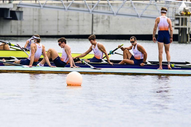 De roeiers van de Holland Acht na de finale, vrijdag in Tokio. Beeld ANP
