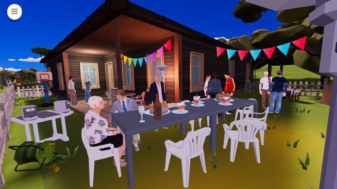 Screenshot uit game 'Wie helpt' van tantelouise om signalen van ouderenmishandeling te leren herkennen: hier zie je mevrouw Karelse op haar eigen verjaardagsfeestje in de tuin, een van haar zoons zit rechts van haar.