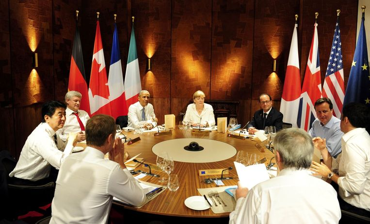 Cameron op de G7-top, gisteren.