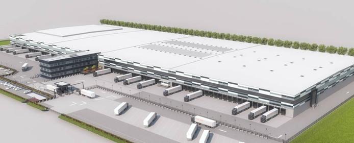 Schets van distributiecentrum Waddinxveen, waarvan een kopie op Park 15 in Oosterhout gebouwd gaat worden.