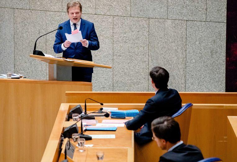 Pieter Omtzigt, minister Wopke Hoekstra en premier Mark Rutte tijdens een debat over het aftreden van het kabinet naar aanleiding van de toeslagenaffaire. Beeld Bart Maat/ANP