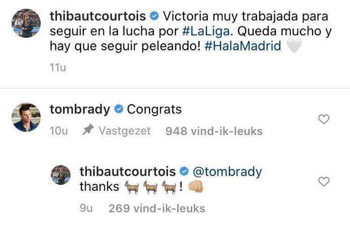 Tom Brady feliciteert Courtois.