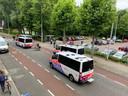 Veel politie op straat in Wageningen.