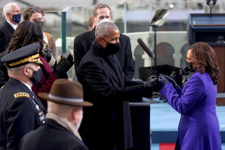 Een coronaveilige felicitatie van Barack Obama.  Beeld AFP