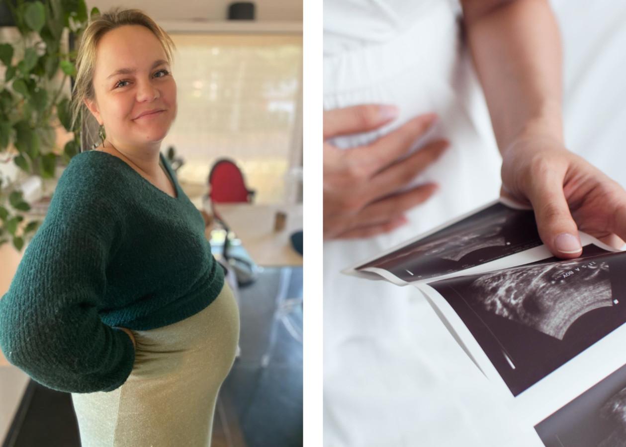 Emma (links), de dag voor haar bevalling.