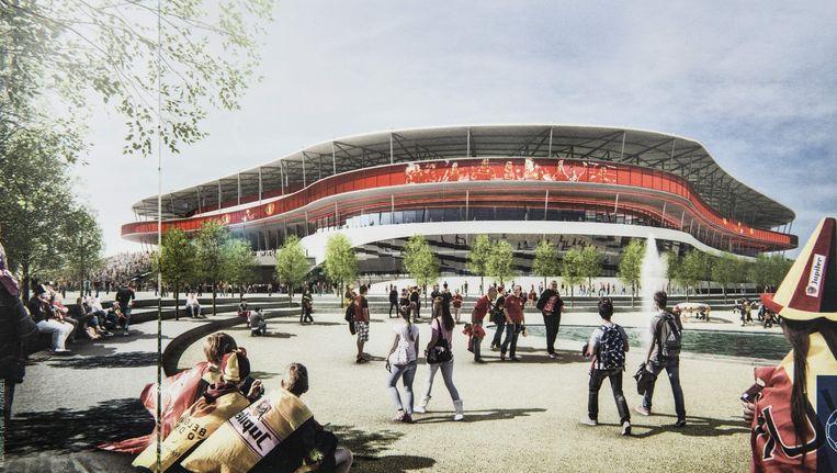 Een ontwerp van hoe het Eurostadion eruit zou zien Beeld Bam/Ghelamco