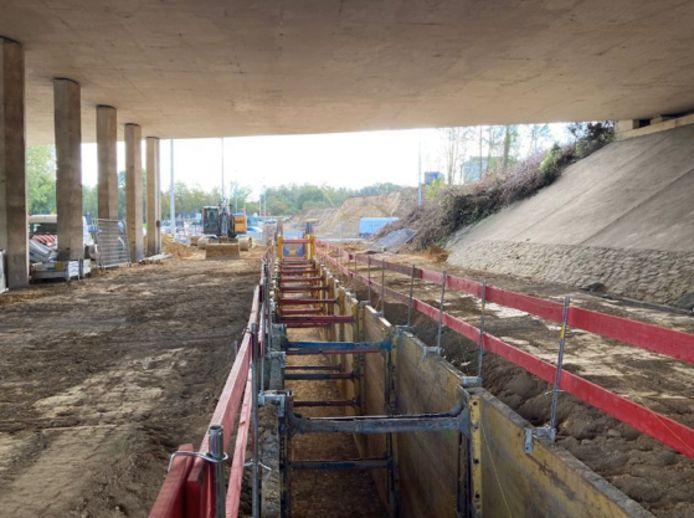 Werken onder de viaduct en aan Medialaan in Vilvoorde: hier zie je het aanleggen van nutsvoorzieningen. Deze fase is intussen achter de rug.