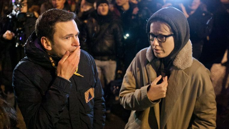 Oppositieleden Ilya Yashin en Ksenia Sobtsjak. Beeld EPA