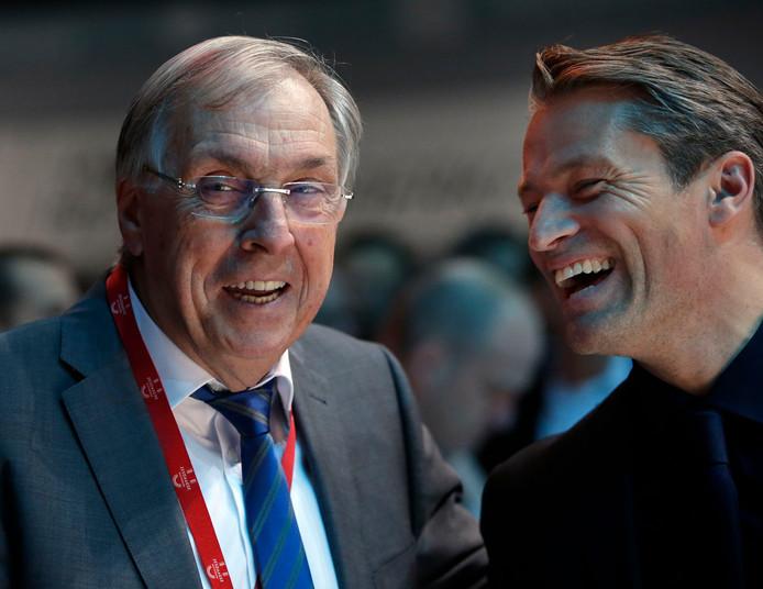 Patrick Sercu(l) en Michael Zijlaard  bij de Zesdaagse van Rotterdam in 2015.