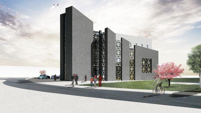Het moderne ontwerp van architectenbureau Dutch Architect voor de nog te bouwen moskee aan de Olof Palmelaan in Zoetermeer.