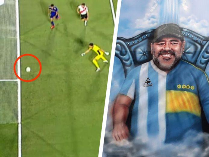 Het werd géén 1-2 in Buenos Aires. Fans van Boca fantaseren dat Maradona hen een (onzichtbaar) handje hielp tegen River Plate.