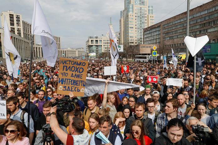 Protest tegen de blokkade van Telegram.