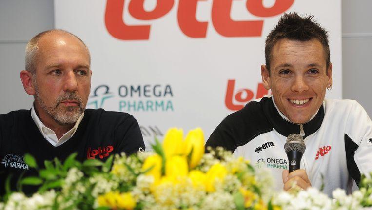 Roberto Damiani naast Philippe Gilbert. Beeld BELGA