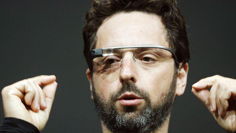 Google medeoprichter Sergey Brin met de Google Glass Explorer-editie op zijn neus. Beeld AFP