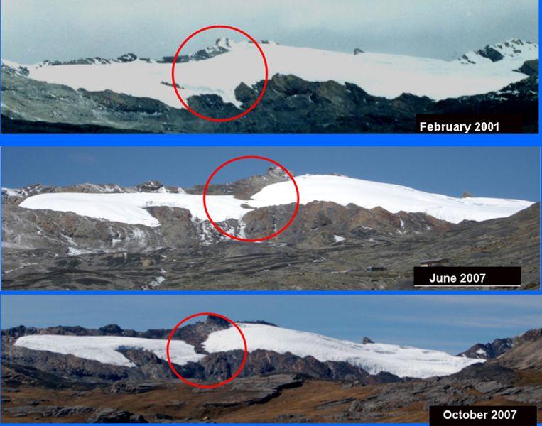 De Pastoruri-gletsjer in het nationale park van Huascaran in 2001 en 2007.