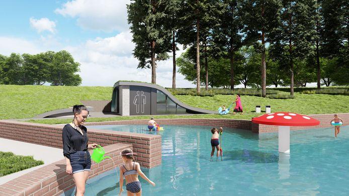 Een impressie van de vernieuwde Paddenstoel met gebouw voor toiletten en waterzuivering in het Wantijpark. Het nieuwe spartelbadje moet in 2022 klaar zijn.
