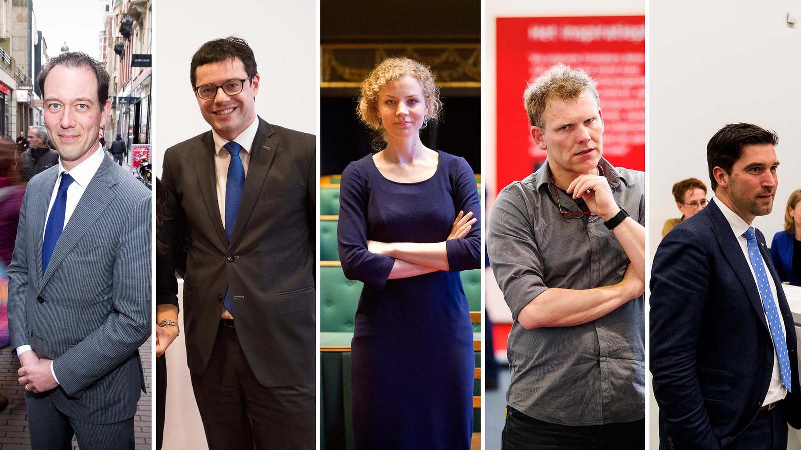 Boudewijn Revis (VVD), Karsten Klein (CDA), Christine Teunissen (PvdD), Joris Wijsmuller (HSP), Robert van Asten (D66)