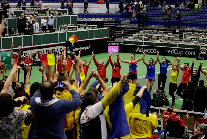 De Roemeens tennissters vier feest in Tsjechië.