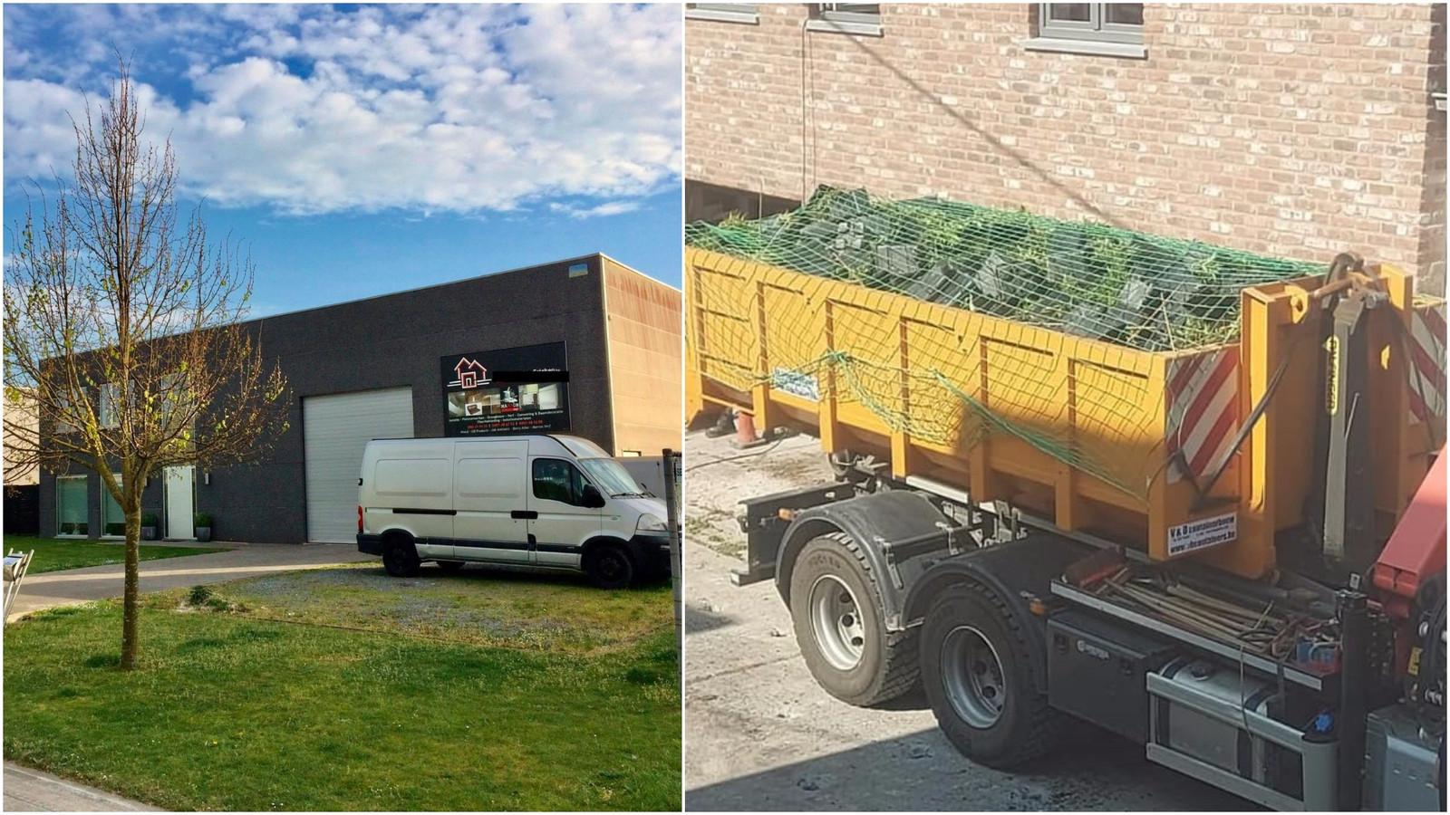 Links: Een cannabisplantage werd ontdekt in deze loods in de Hanzestraat in Blankenberge. Rechts: Er werden vier volle containers met planten weggehaald uit de woning in Snaaskerke.