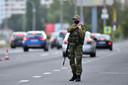 Speciale politie-eenheden bewaakten vandaag strategische punten in de Wit-Russische hoofdstad Minsk.