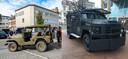 De legervoertuigen die Vlaams Belang gebruikte bij hun actie steken wat knullig af tegen de Bearcats die de politie gaat inzetten tegen het drugsgeweld.