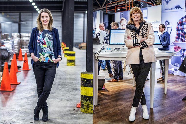 Cindy Visser en Enny van de Velden staan allebei aan het hoofd van een familiebedrijf. Beeld Raymond Rutting / de Volkskrant