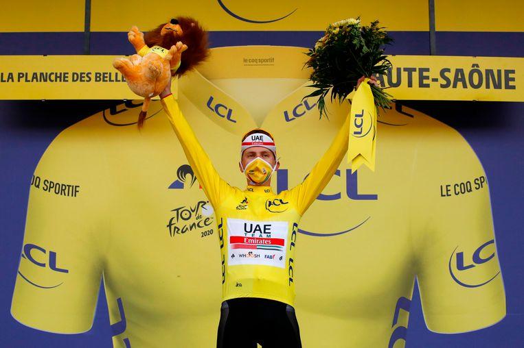 Tadej Pogacar, de winnaar van de 107ste editie van de Tour de France. Beeld AFP