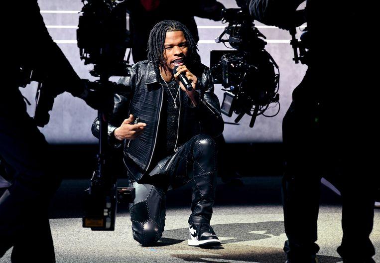 Rapper Lil Baby opende de ceremonie met zijn nummer The Bigger Picture, dat hij vorig jaar direct na de dood van George Floyd uitbracht. Beeld EPA