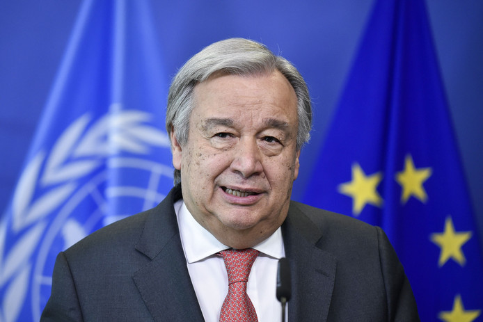 VN-secretaris-generaal António Guterres speaks.