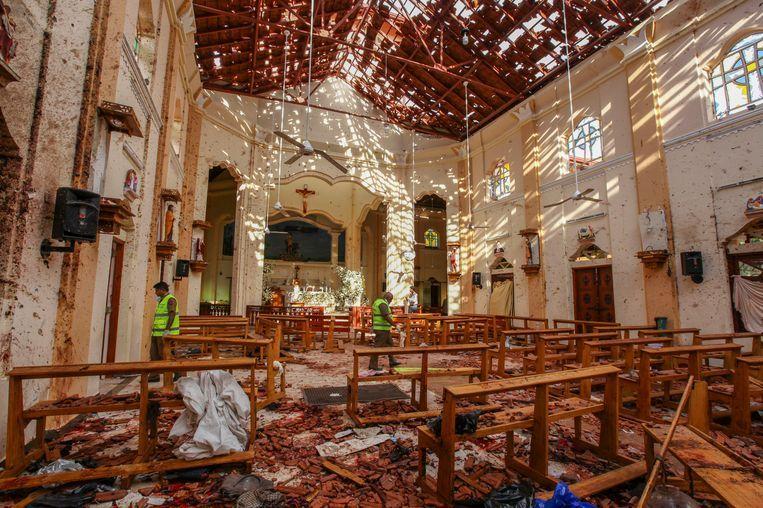 Sint Sebastiaanskerk in Negombo, ten noorden van Colombo in Sri Lanka Beeld AP