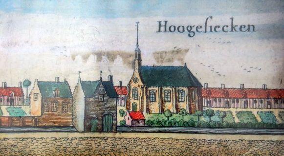 Een afbeelding van 'Hooghe Siecken' in het boek Flandria illustrata.
