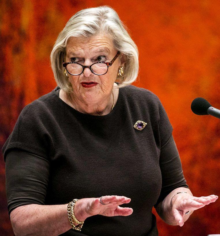 Ankie Broekers-Knol, staatssecretaris van Justitie en Veiligheid, tijdens het wekelijkse vragenuurtje in de Tweede Kamer.  Beeld ANP
