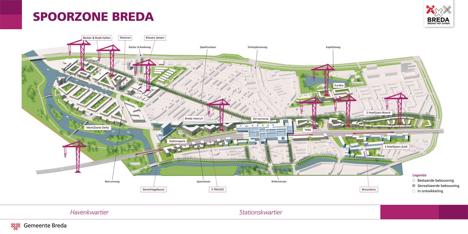 Overzichtskaart van bouwkranen in de spoorzone in Breda